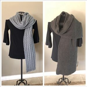 2️⃣pc Gray Chunky Long Thick Knit Scarves!!